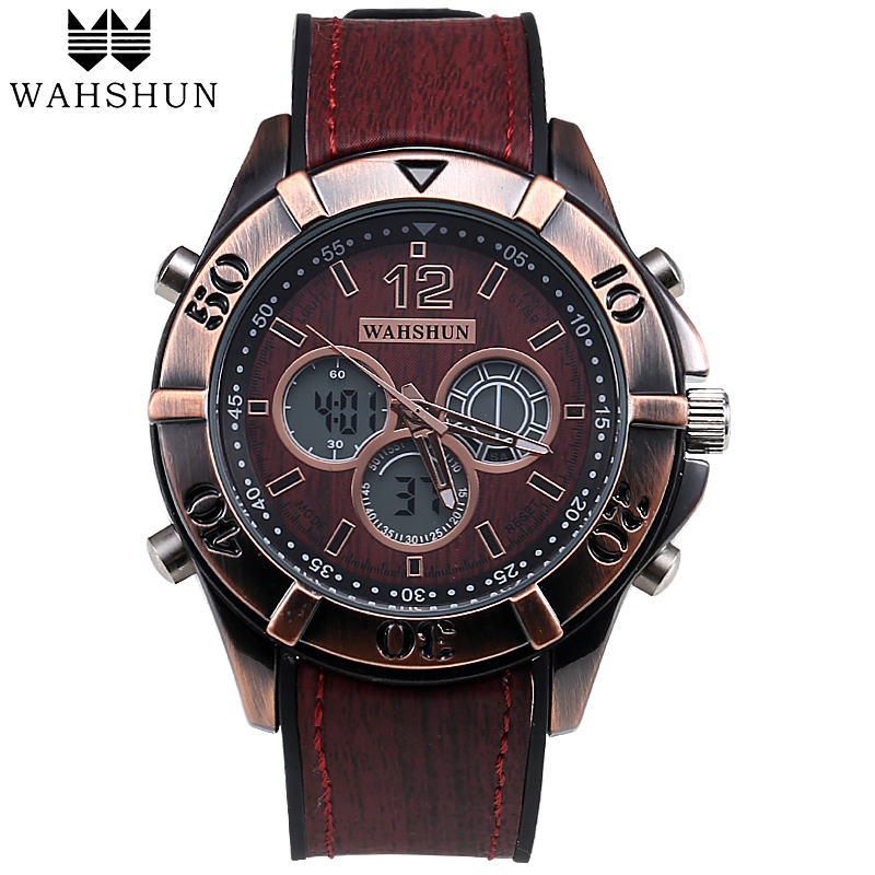 Fashion Men Watches Leather Analog-Digital Watch Dual Time Wristwatch Vintage Casual Watch Men Clock Male reloj hombre WS1006 casio watch men s fashion digital watch fashion casual