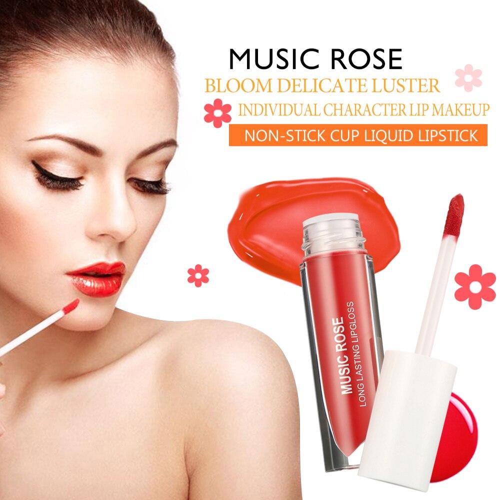 Rosa música Coréia 24 Cores Mulheres Maquiagem Líquido Batom Lip Gloss Novo 2019 Matte Lip Gloss Nenhum Desvanecimento Hidratante Hidratante