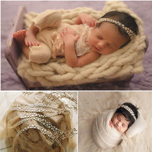 Newborn Photography Props Baby Headband Shiny Metallic luster headdress with gold and silver colour Accessories