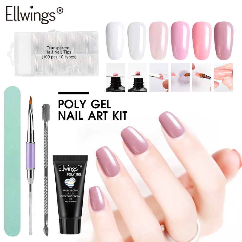 Ellwings Poly Gel Varnish Set Quick Hard Building Finger Extension Camouflage UV Builder Gel Lacquer Nail Art DIY Manicure Kits