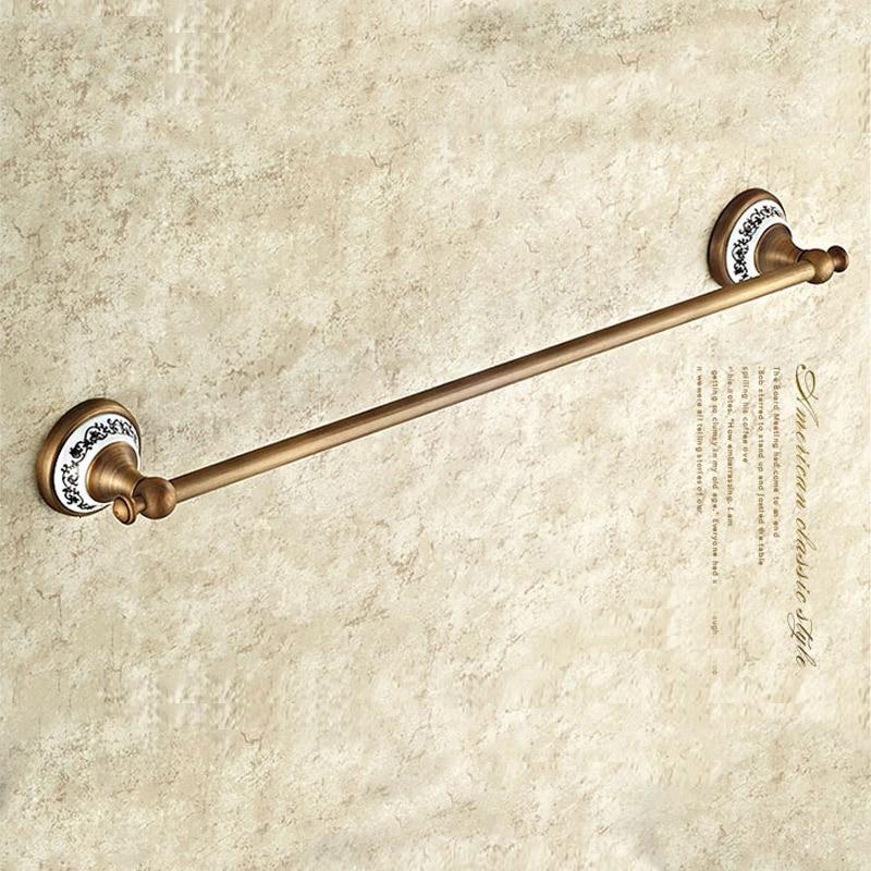 (61cm) Single Towel Bar, Towel Holder, Towel rack Solid Brass & Ceramics Made, high quality vintage, Bathroom Accessories high quality solid brass bathroom towel bar single towel rack towel holder chrome polished