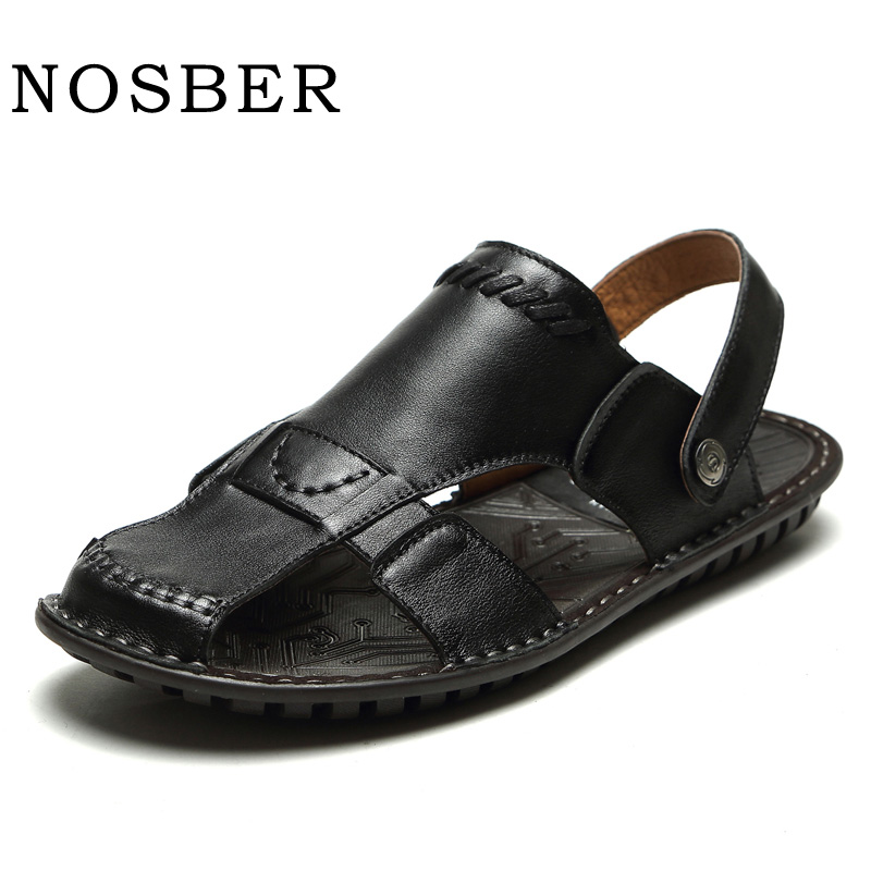 NOSBER Genuine Leather Summer Soft Male Sandals Shoes For Men Breathable Light Beach Casual Quality Walking Sandal 2018