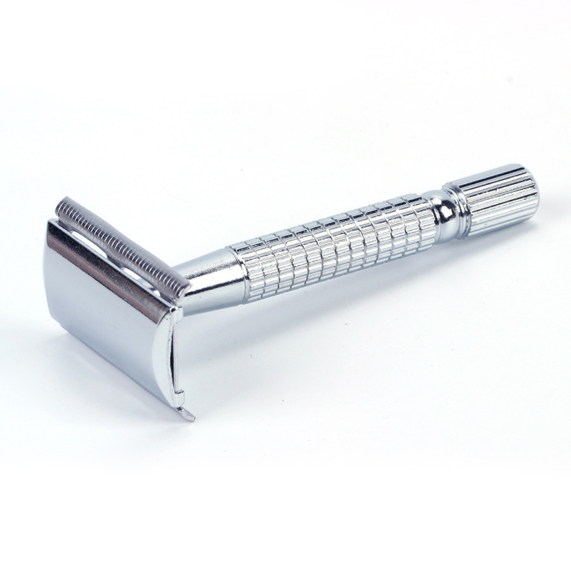 2018 Manual Chrome Long Handle Men's Barber Shaving Safety Blade Razor Classic Stainless Shaver, 1 Handle & 5 Blades