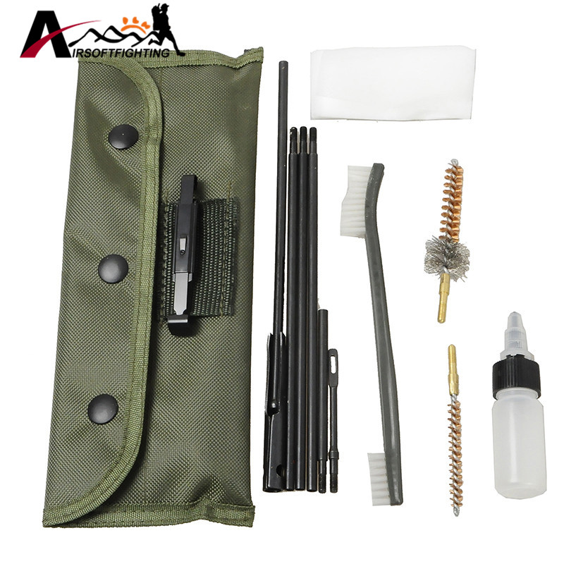 Ny Ankomst 10 Stykke .22cal 5.56mm Rifle Gun Cleaning Kit Set Rengjøringsstang Nylon Pensel Cleaner Gun Tilbehør Clean Tools