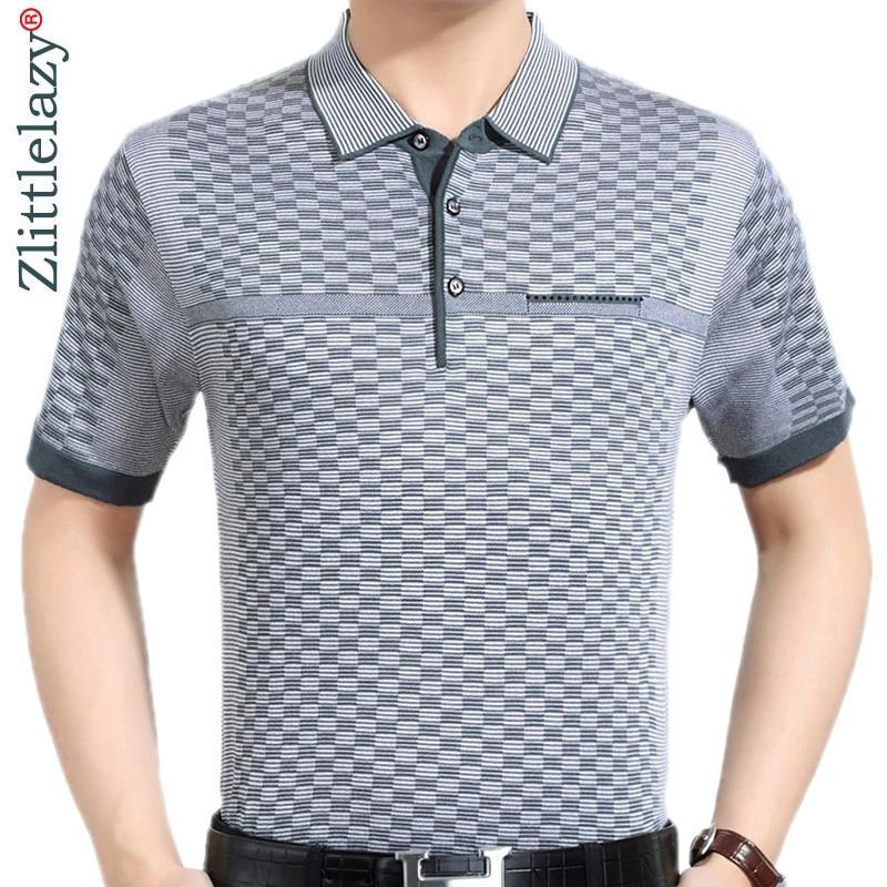 New summer polo shirt men short sleeve polos shirts plaid slim fit mens pol clothes dress bodybuilding streetwear poloshirt 9097