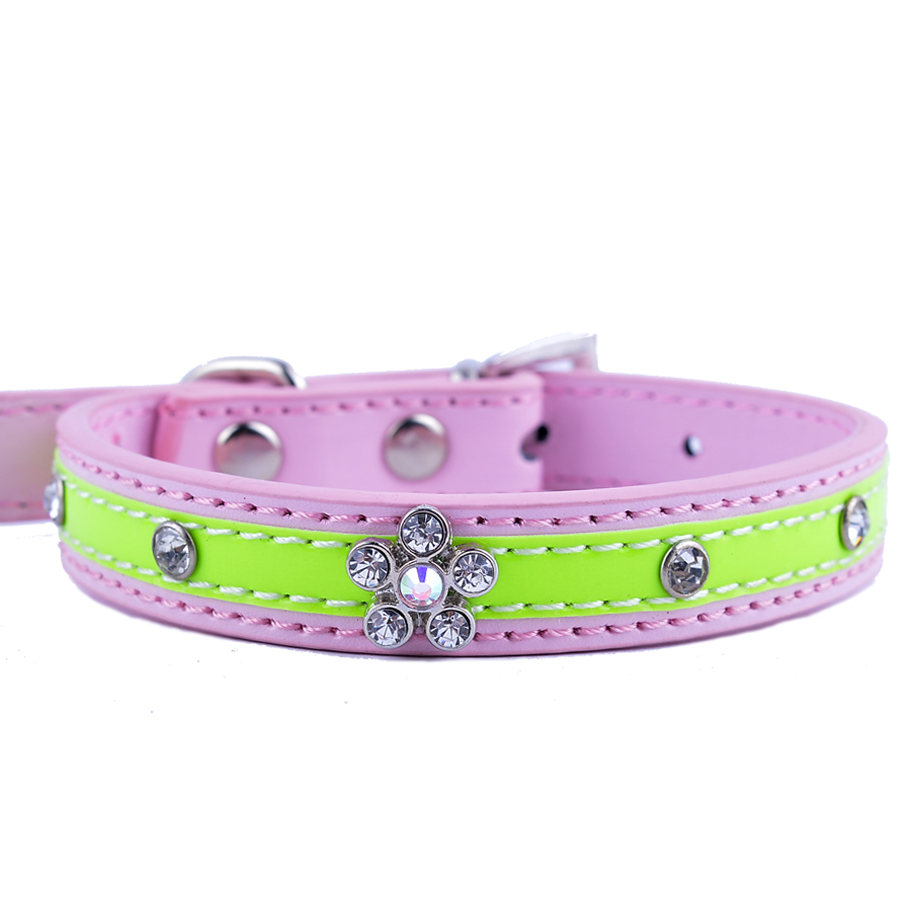 Online get cheap pink flower dog collar aliexpress alibaba 10pcslot chihuahua dog collar rhinestone flower accessory leather studded dog necklace small pet dog supplies red pink black dhlflorist Choice Image