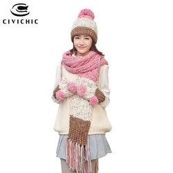 Conjunto cálido de invierno de Grado Superior CIVICHIC, gorro de punto, bufanda, guantes para niña, pompón de terciopelo, gorros, borla, chal grueso, mitones SH177