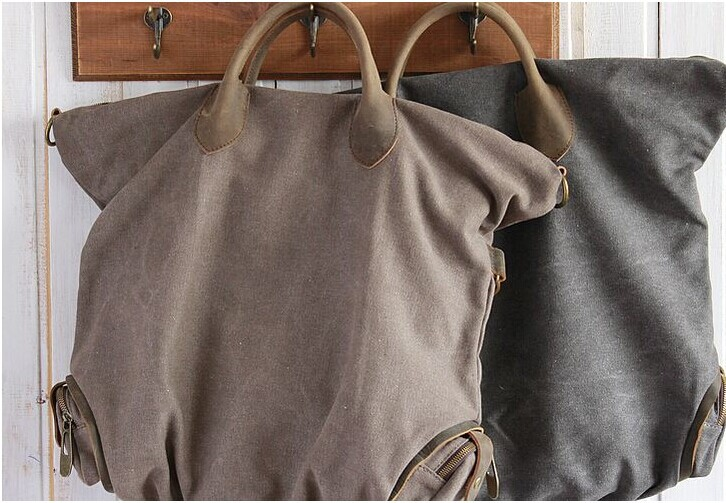 ФОТО free shipping canvas leather carrying vintage handbag   women real leather handbags large bag
