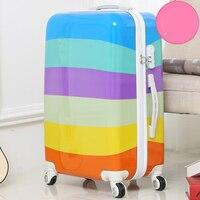 BeaSumore 24 дюймов rolling Спиннер для багажа чемодан на колесах красочными полосками сумка тележка нести на студентов trunk