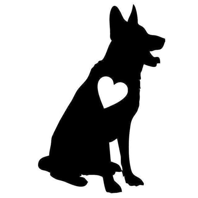 10.2*15.2 CM German Shepherd Heart Pet Love Dog Vinyl ...