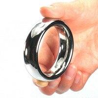Top anel de pénis de aço inoxidável 40/45/50mm heavy metal cockring penisring anéis penianos atraso ejacular spray brinquedos do sexo para homens