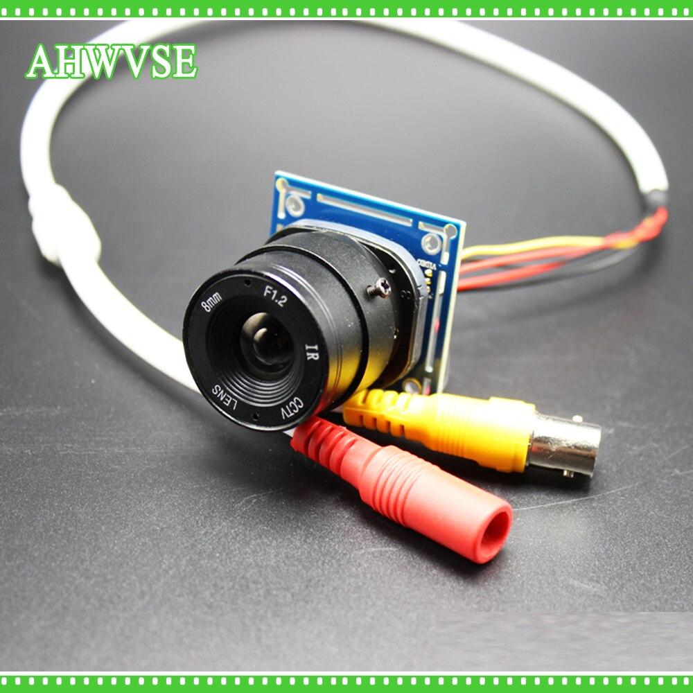 AHWVSE CMOS 1200TVL Mini CCTV Caméra Module avec BNC Câble et CS Objectif 4mm 6mm 8mm 12mm 16mm