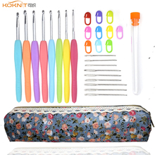 KOKNIT 9PCS Crochet Hook Set Yarn Weave Knitting Needles Craft Kit Stitch Makers Sewing Accessories With Bag