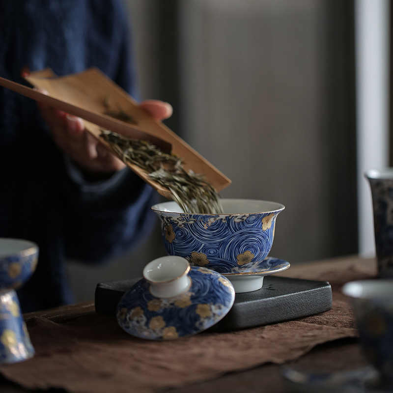 """Pinny """"noite estrelada"""" cor esmalte gaiwan pintados à mão cerâmica chá tureen kung fu chá conjunto chinaware serviço de chá chinês"""