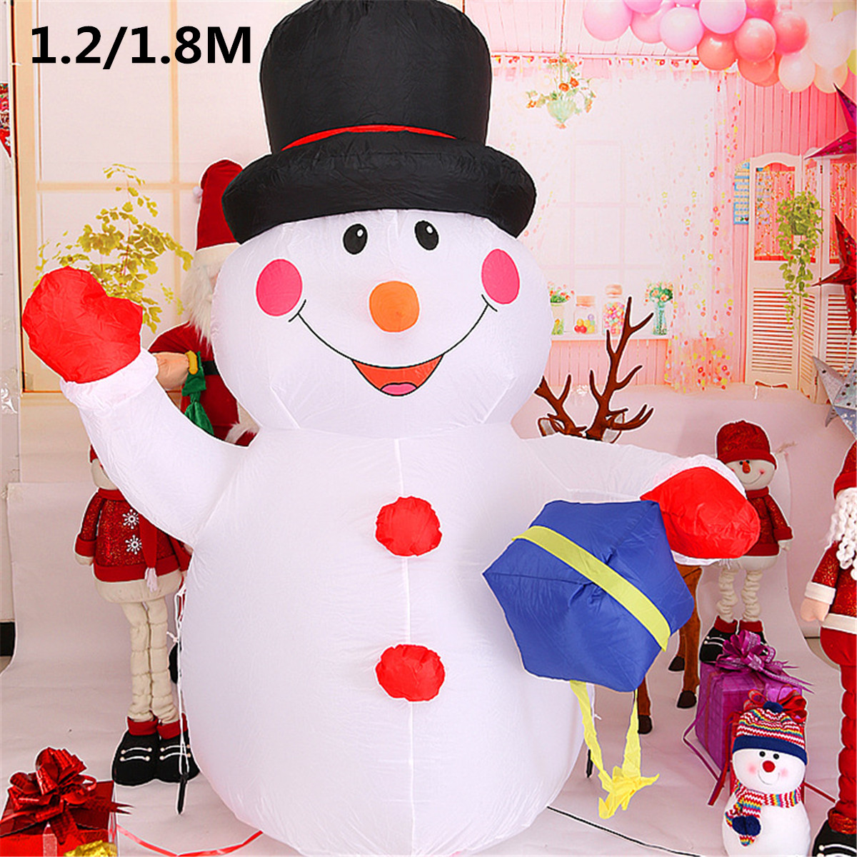 120cm/180cm LED Lights Air Inflatable Santa Claus Snowman Air Blown Christmas Holiday Lighting Christmas Birthday Party Decor cartoon christmas santa claus printed home decor pillow case