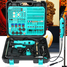 Tungfull Double Electric Variable Speed Rotary Tool Mini Drill with Flex Shaft and 256pcs Power Tools accessories set drill