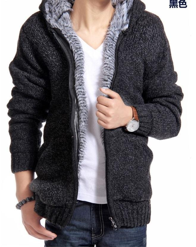 New autumn winter new fashion font b men s b font thick warm padded cardigans knitted