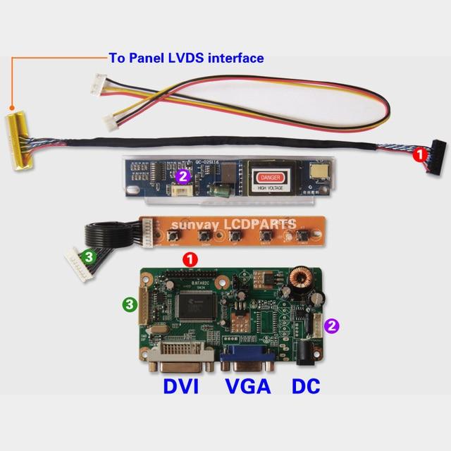 e7d8e9aebf9 F Laptop LCD screen DIY monitor controller kit DVI VGA to LVDS AD board  NTA92C Driver board Max Resolution 1920x1200 and 17 inch