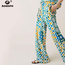 ROHOPO Women Printed Boho Pant Tie Belted Wide Leg Vintage Tassel Soft Trousers Autumn Office Ladies Plaid Bottom Pant 2019
