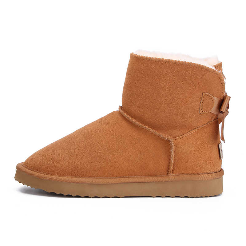 MBR FORCE แฟชั่นหิมะอุ่นรองเท้าบูทฤดูหนาวของแท้ Cowhide หนังรองเท้าผู้หญิงข้อเท้ารองเท้าบูทรองเท้าขนาด 34 -44