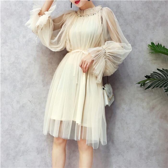 Stand Collar Bubble Sleeve Mesh Lace Dress Sequined Sweet Summer Dress 2018 New Women Dresses Tulle Dress Vestidos Robe Femme
