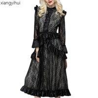 Black Gothic Steampunk Women Vintage Lace Dress Long Sleeve Fashion Elegant Peter Pan Collar Victorian Dresses Vestidos DS023