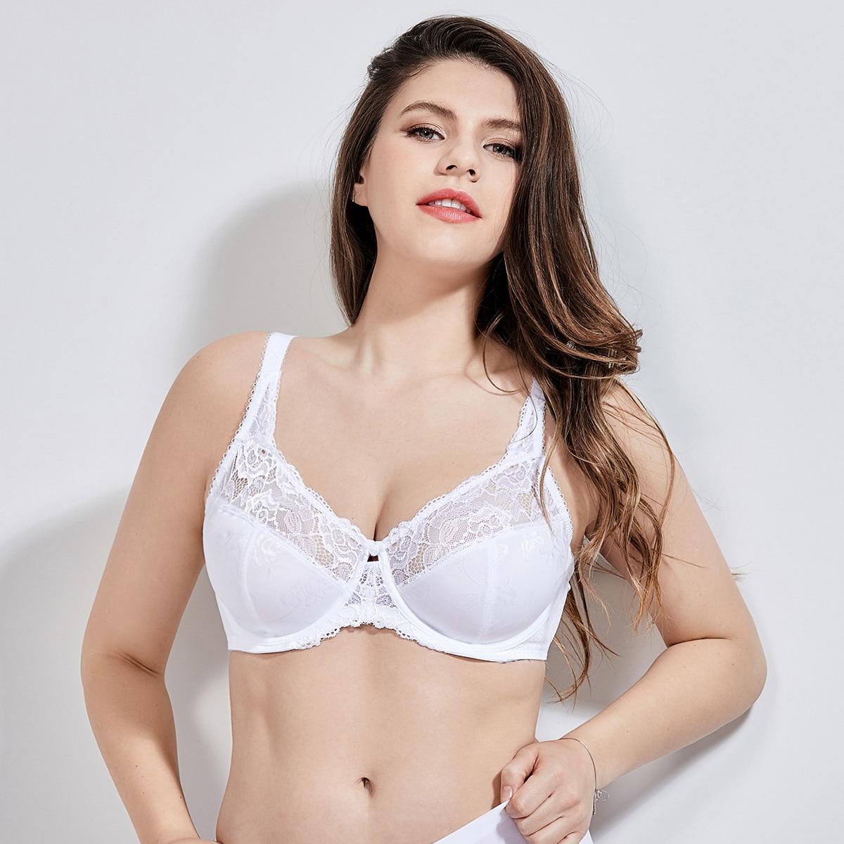 DELIMIRA Для женщин Красота кружева не мягкий Minimizer на полную фигуру, бюстгальтер на косточках - Цвет: White02