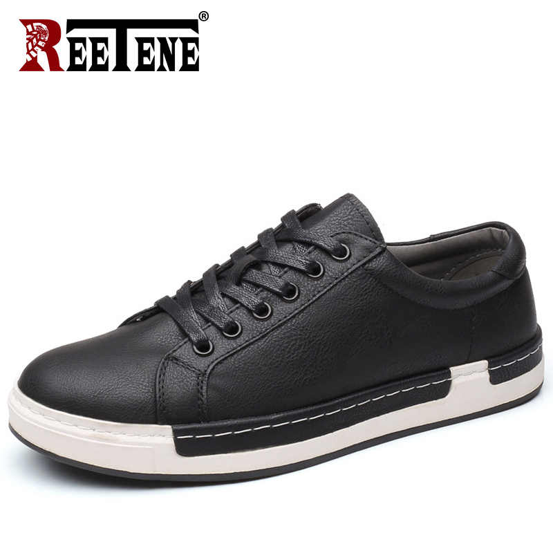 REETENE 2019 New Autumn Men Shoes Fashion Leather Casual Shoes Men Lace Up Flats Spring Casual Men Shoes Leather Walking Loafers