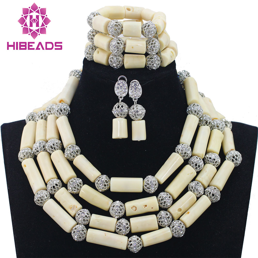 2017 Fashion Milk White 4 Rows African Coral Beads Jewelry Sets Indian Jewelry Sets Bridal Necklace Jewelry Sets Free ShipABL879