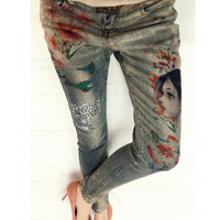 European Station Printed Stretch Pants Please Oil Painting Leopard Patchwork Cloth Golden Painted Female Winter Jeans