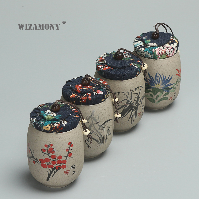 1PCS WIZAMONY Tea Jar Caddy For Puer Crude Pottery Oolong Tea Chinese Porcelain Ceramic Jar Tea Canister Kung Fu Storage Chest