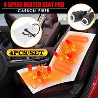 12V 4pcs Auto Heated Seat Covers 6 Level Carbon Fiber Universal Car Heated heating Heater Seat Pads Winter Warmer Seat Covers
