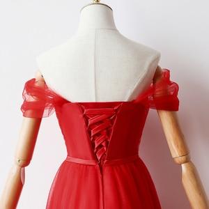 Image 5 - Cor vermelha Revestimento Interno Curto Vestidos de Dama de honra Vestidos De Mulher para a Festa de Casamento e Vestido Maxi
