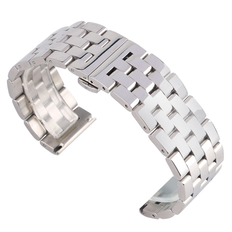 24/26mm Silver Watchband Luxury Stainless Steel Push Button Deployment Buckle Solid Link Watch Strap Replacement + 2 Spring Bar
