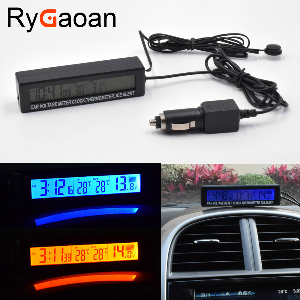 RyGaoan 3in1 12V Digital LCD Screen Car Battery Voltage Meter Clock Outdoor/Indoor Car Thermometer Ice Alert Alarm Hourly Chime