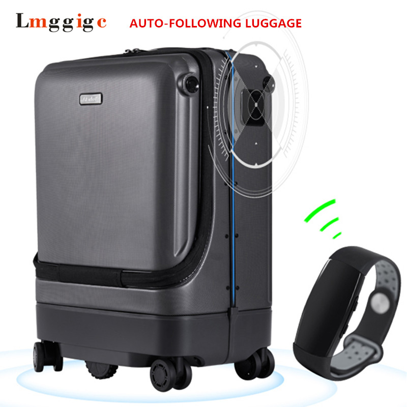 Equipaje de seguimiento automático, bolsa de maleta eléctrica inteligente, caja de viaje de cabina de PC automática, funda controlable a distancia