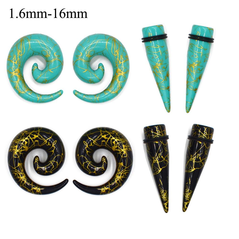 Par de impressão acrílico em linha reta orelha expansor maca espiral atarraxamento plug túnel piercing guage kit alongamento jóias do corpo
