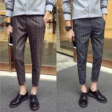 6d2cc8e2967a68 28-42 2017 herenkleding Mode Kapper zomer plaid skinny broek streep  enkellange broek plus size zanger kostuums