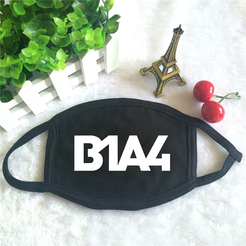 Kpop B1A4 Album Logo Print K-pop Fashion Face Masks Unisex Cotton Black Mouth Mask