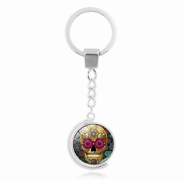 Multicolore mexicain sucre crâne pendentif porte-clés verre dôme Double face rotatif argent métal porte-clés anneau bijoux accessoires