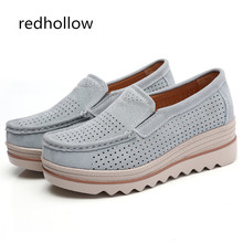 Spring Women Flat Platform Slip On Loafers Shoes Lady Sneakers Shoes Suede Leather Hollow Casual Shoes Flats Moccasins Creepers цены онлайн