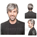 Mens Male Wig Handsome Vogue Short Sliver Grey Straight Wigs For Affrican American Men Natural wig  free shipping