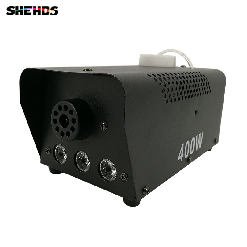 Mini 400W RGB 3IN1 fog machine Remote Control pump DJ Disco Smoke Machine for Party Wedding Christmas Stage Fogger Machine 2pcs lot shehds mini 400w rgb 3in1 smoke machine for dj disco party weedding stage fogger machine wireless remote control