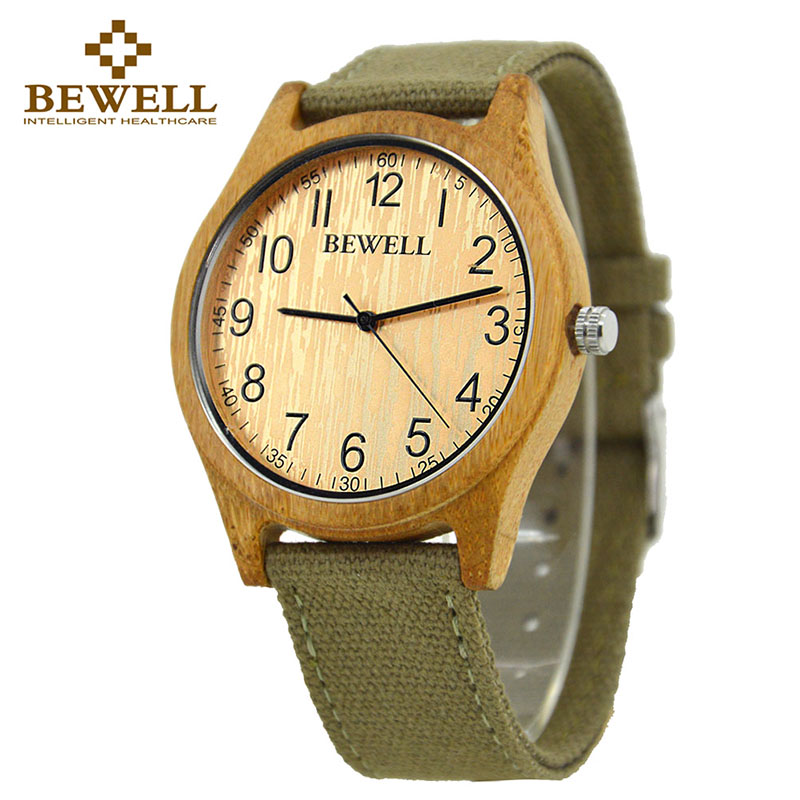 BEWELL 2016 Hot Sell Sports Dress Casual Natural Wood Bamboo Watch With Canvas Strap For Mens