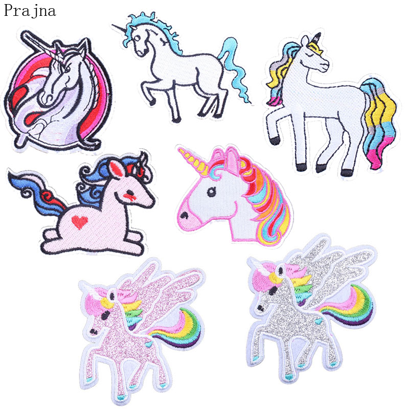 Prajna DIY Unicorn Patch Iron On Embroidered Patches For Kids Clothing Stripes Sewing Cloth Wings Patch Horse Clothes Applique
