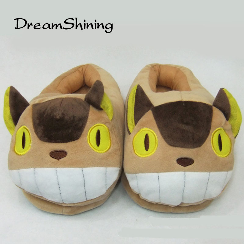 DreamShining Plush  Cotton Home Slippers Neighbor Totoro Slippers Figure Cartoon Plush Slipper Totoro Indoor Warm Home Shoes 3d minions slippers woman winter warm slippers despicable minion stewart figure shoes plush toy home slipper one size doll
