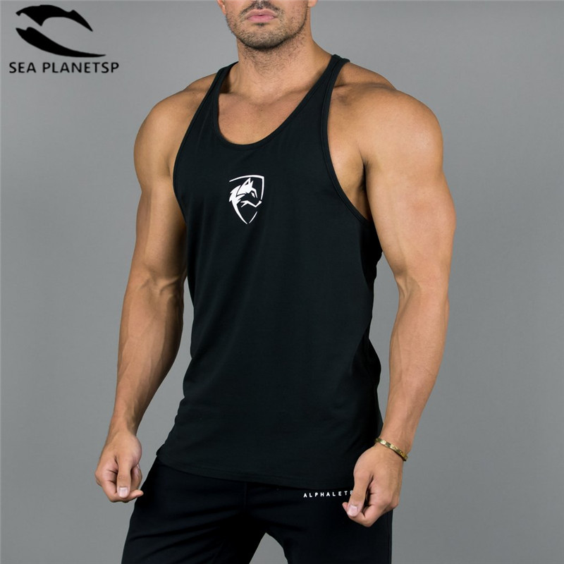 2019 New Men gyms   Tank     Top   Summer print Cotton Alphalete Men Bodybuilding Undershirt Fitness   Tank     Tops   Singlet Brand Clothing