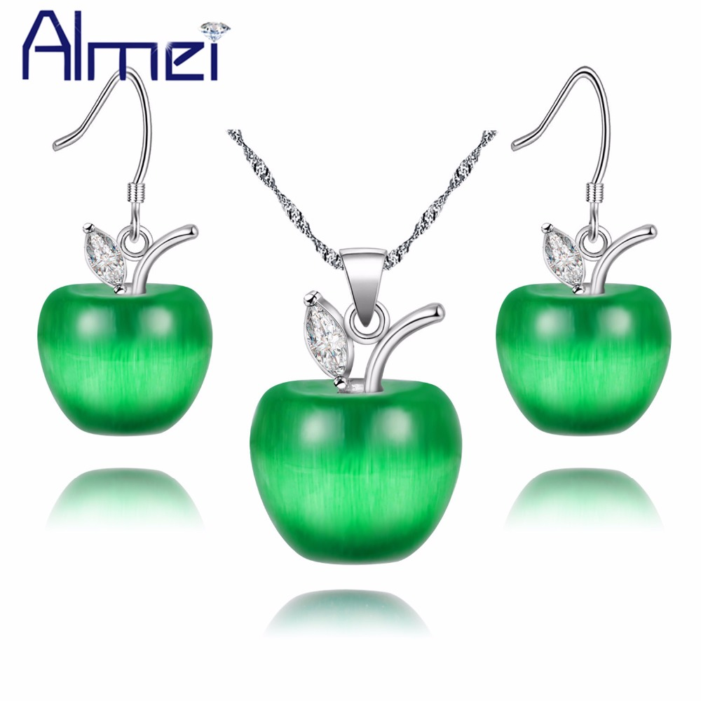 Almei 49% off Pink Crystal Wedding Apple Jewelry Sets Silver Color Necklace Earring Set Women Green White Red Earrings YL007