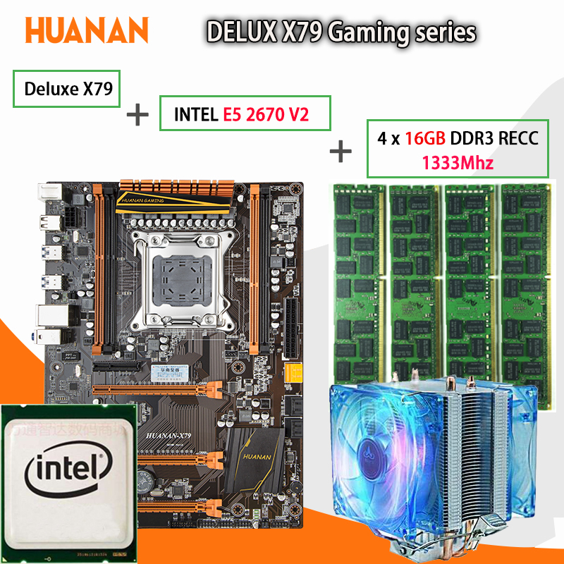 HUANAN golden Deluxe X79 gaming motherboard LGA 2011 ATX CPU E5 2670 V2 SR1A7 4 x 16G 1333Mhz 64GB DDR3 RECC Memory with cooler