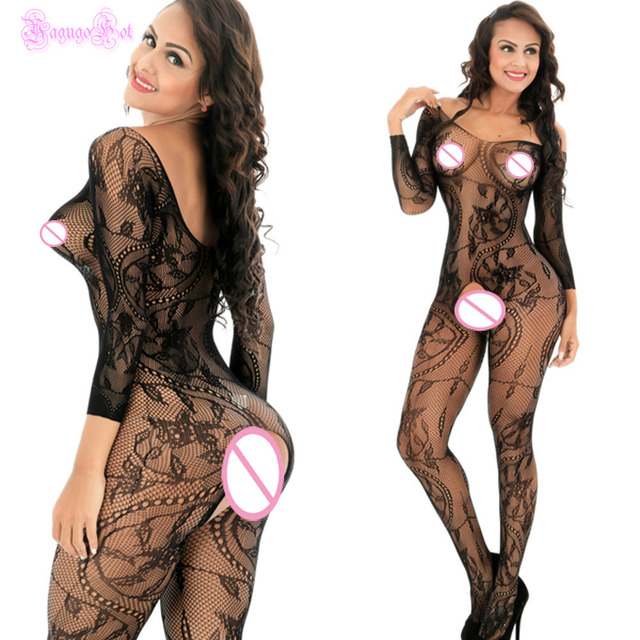 Lace Floral Long Sleeved Bodystocking  1